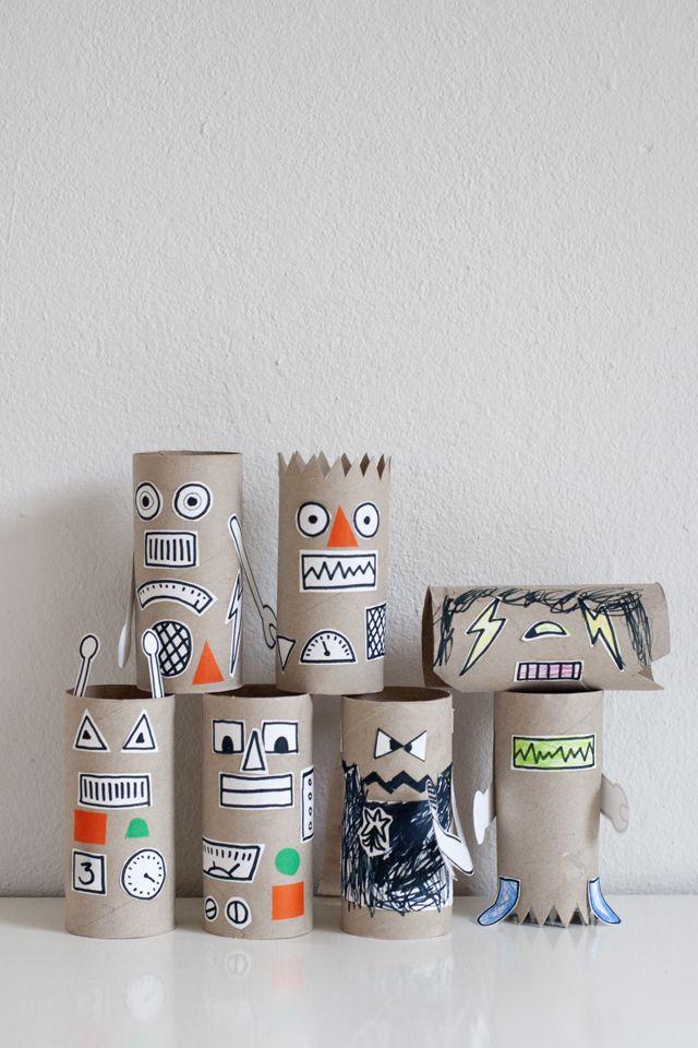 Robottiaskartelua / Rainy Day Robot Craft | Cardboard tube crafts ...