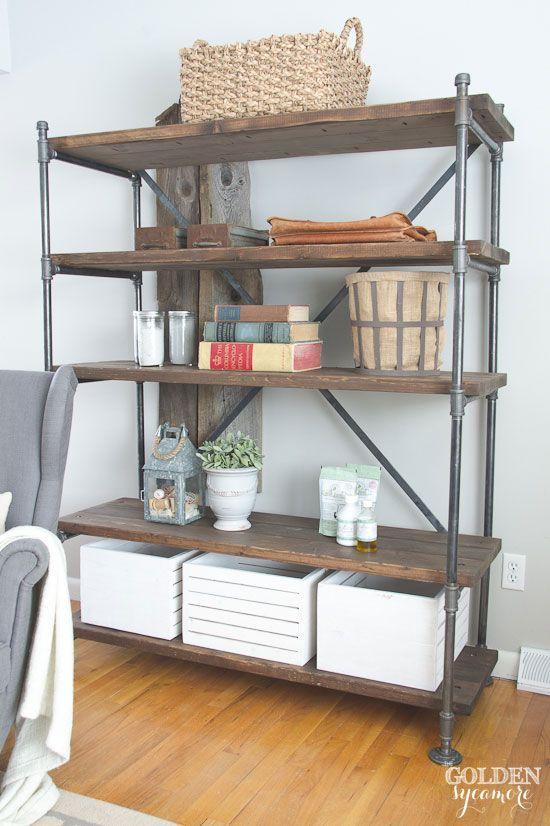 industrial pipe shelving unit industrial design pinterest m bel. Black Bedroom Furniture Sets. Home Design Ideas