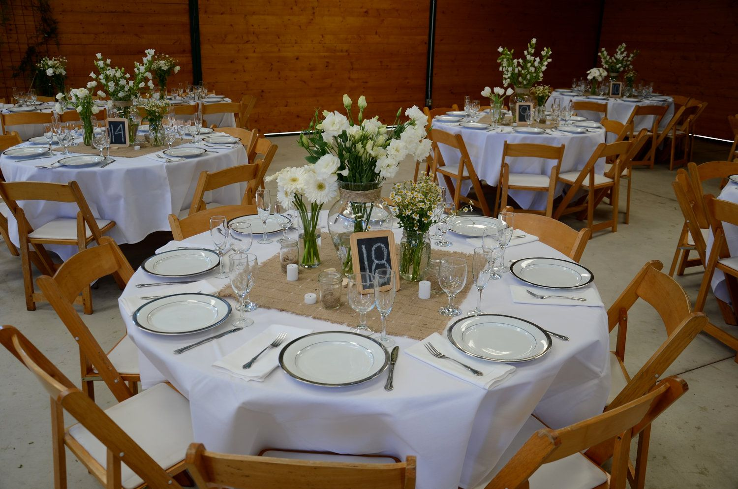 White Table Cloth With Burlap Square