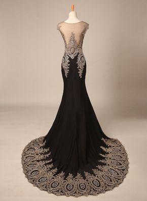 bridalmall damen elegant schwarz elastisch abendkleid lang mit schleppe strasssteinen prom