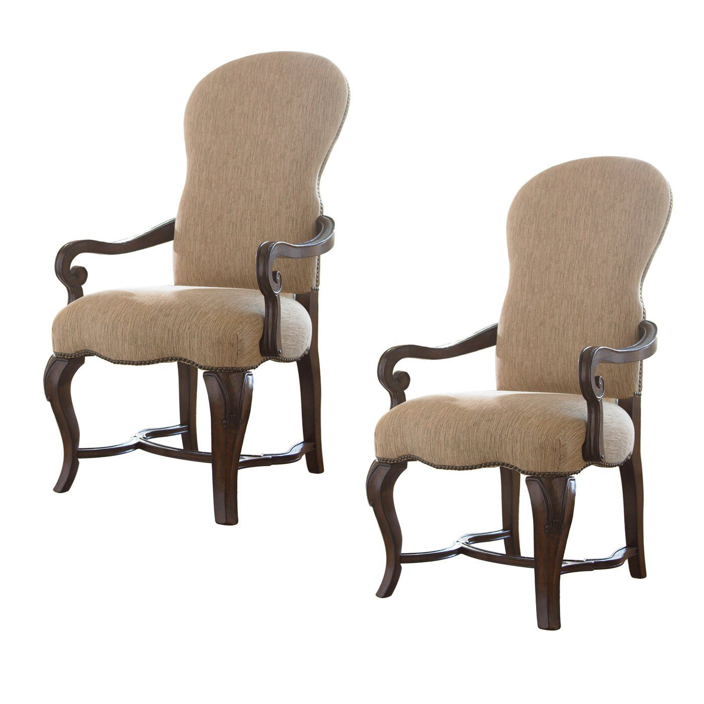upholstered arm dining chair raynor ergohuman universal furniture 901639 rta contessa olde world cherry set of 2