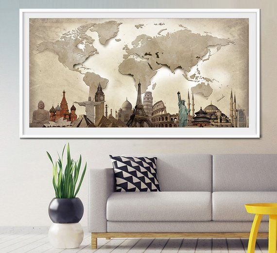 World travel map, World Map Poster, World map wall art, Extra Large ...