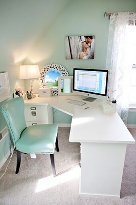 LOVE THE COLORS!!! Position corner desk so you're facing the room not the wall. Can use back wall for bulletin board, idea display...