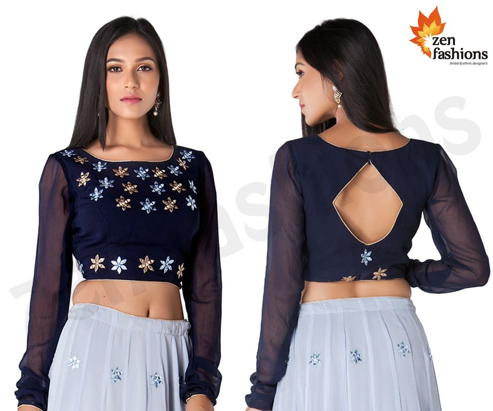 6099111d752911 Navy Blue And Powder Blue Lehenga Adorn In Embroidery And Stone Work.   zenfashions . call for order - +91 9987244208 .  navyblue  powderblue   lehenga ...