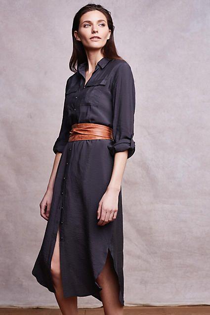 bf47a00c504 Drawstring Midi Shirtdress