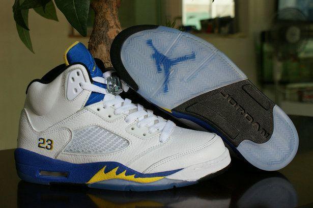 Authentic blue yellow white shoe air jordans retro 5 basketball shoe for men