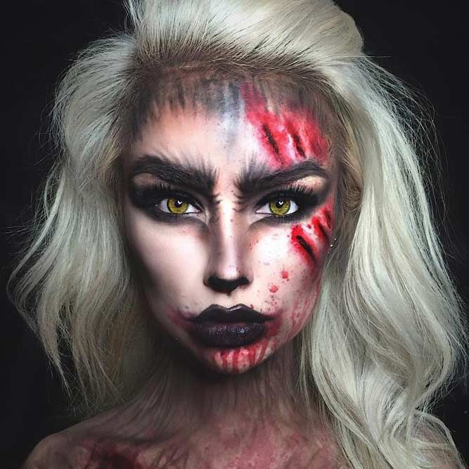 21 Super Scary Halloween Makeup Looks Scary halloween makeup - terrifying halloween costume ideas