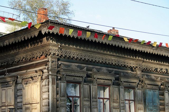 Old wooden houses of Irkutsk, Siberia, Russia