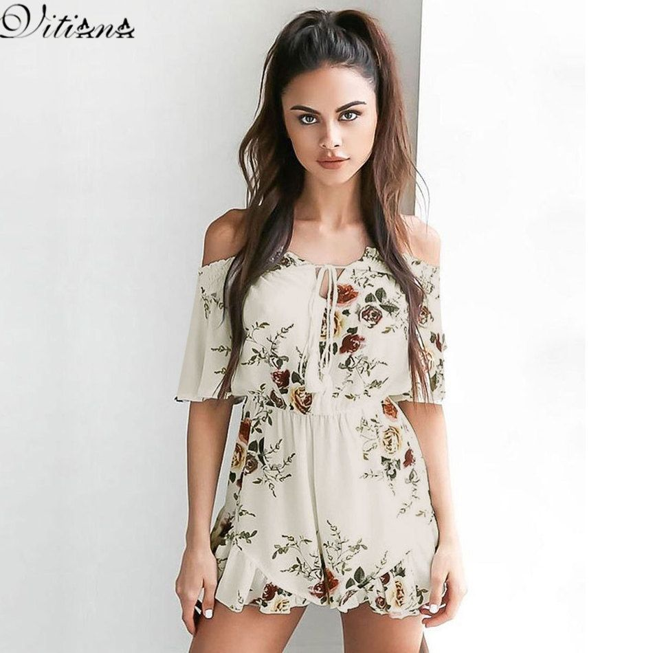 Jumpsuits for Women, Aniwon White Off Shoulder Jumpsuits Summer Beach Dress  Sundress Rompers Floral Dress Playsuits for Women Ladies Girls