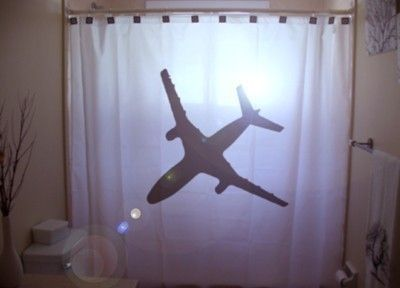 Airplane Shower Curtain Jumbo Jet Bathroom Decor Aviation Gift For Pilot Extra Long Fabric Available In 84 96 Inch Custom Size Curtains Aviation Gift Amazing