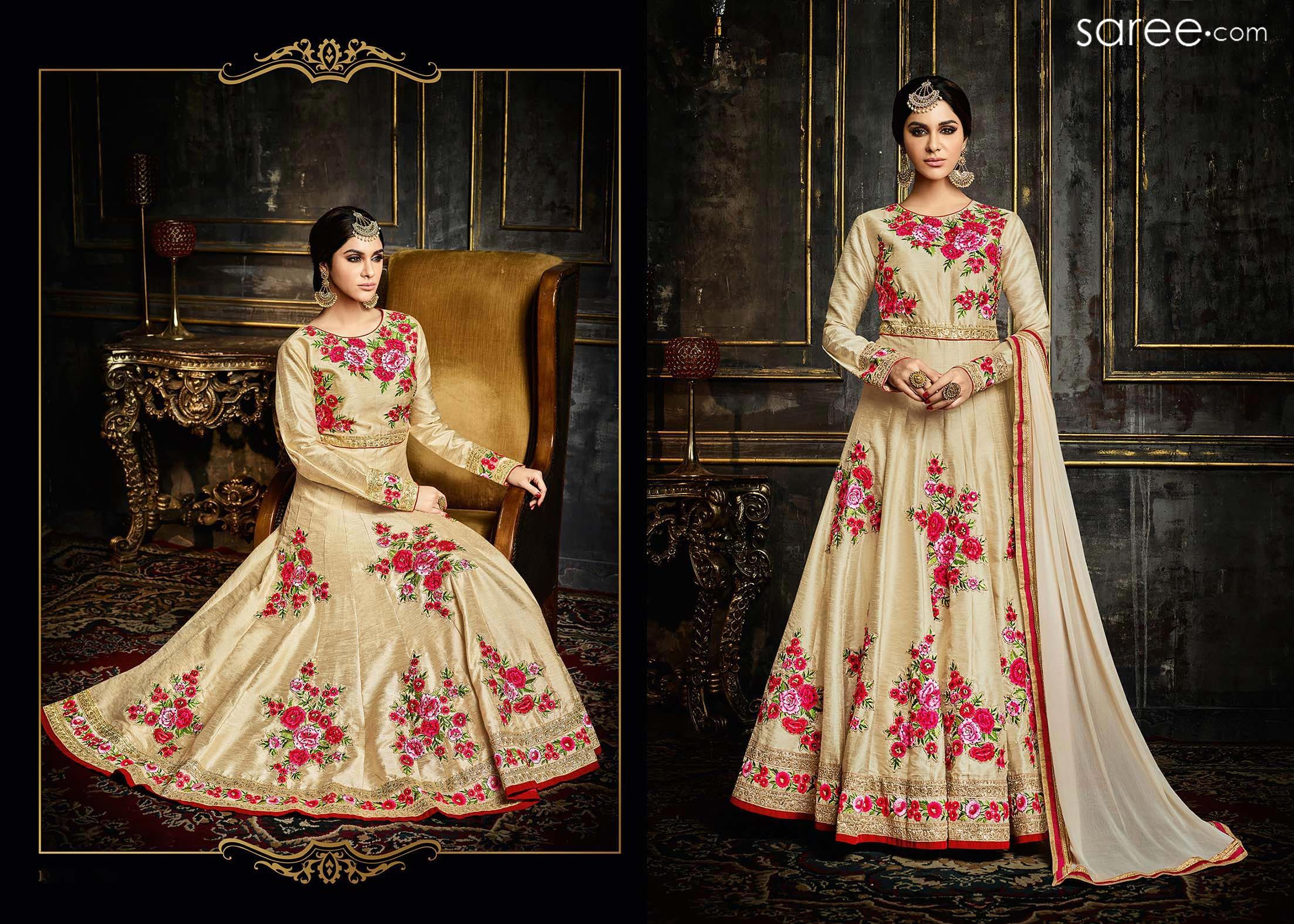 Maroon and cream wedding decor  CREAM SILK ANARKALI SUIT WITH EMBROIDERY WORK  Salwar suits