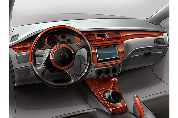 seria of car interiors and elements
