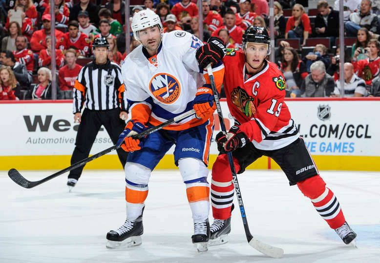 Johnny Boychuk 55 Of The New York Islanders And Jonathan Toews 19 Chicago Blackhawks Hockey New York Islanders Jonathan Toews