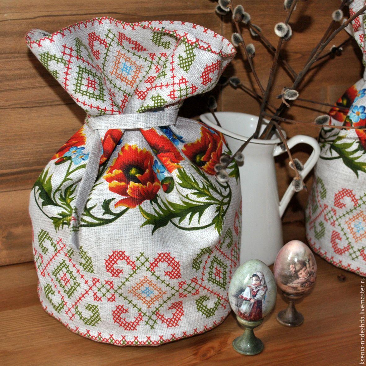 Торба для кулича 'Маки и незабудки'