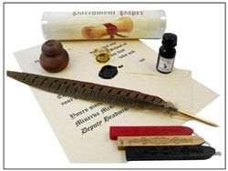 Owl Harry-Potter -style Feather Quill Pen Writing Bundle  with Owl Wax Seal