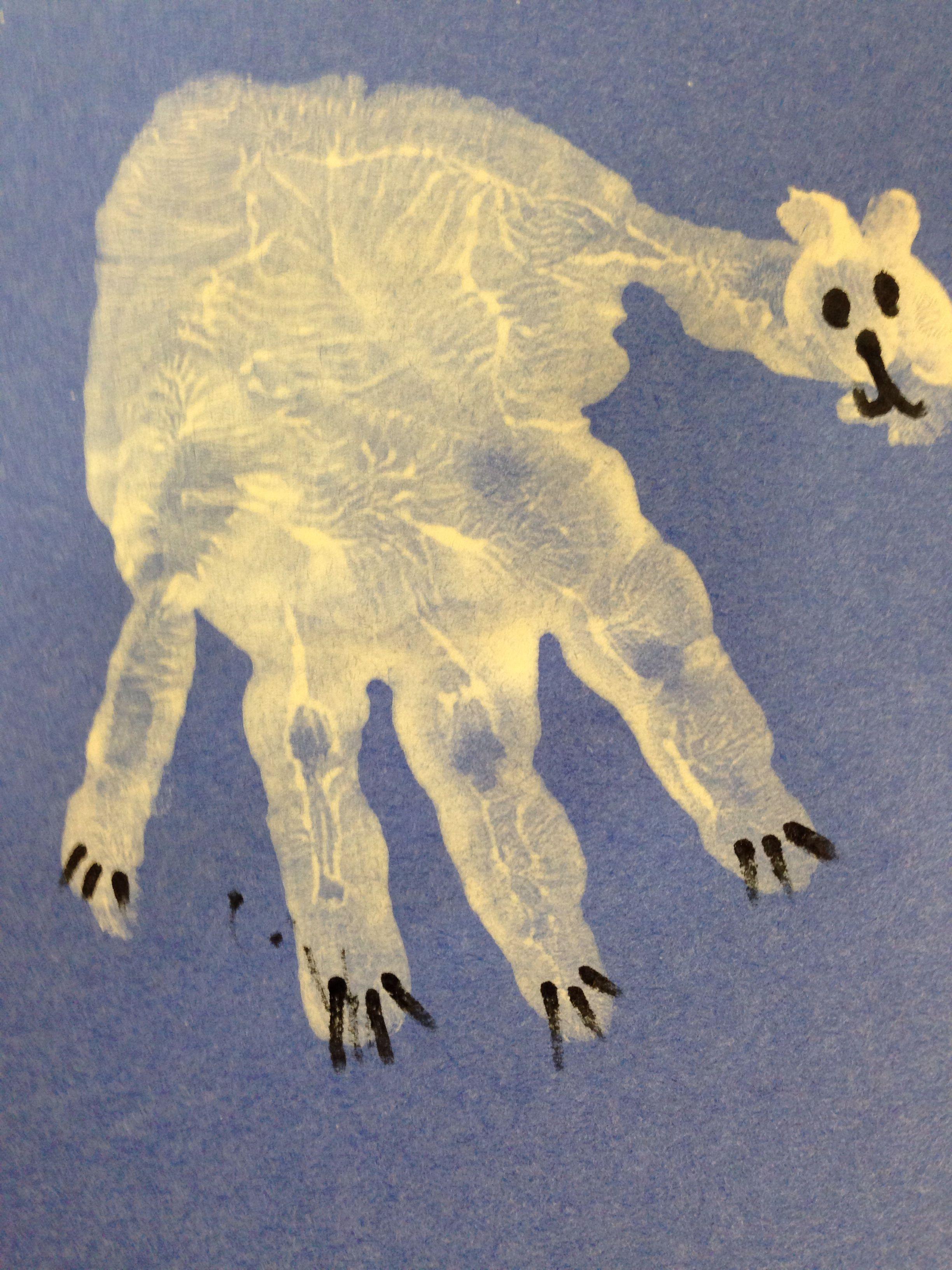Handprint Polar Bear For Arctic Animals Theme