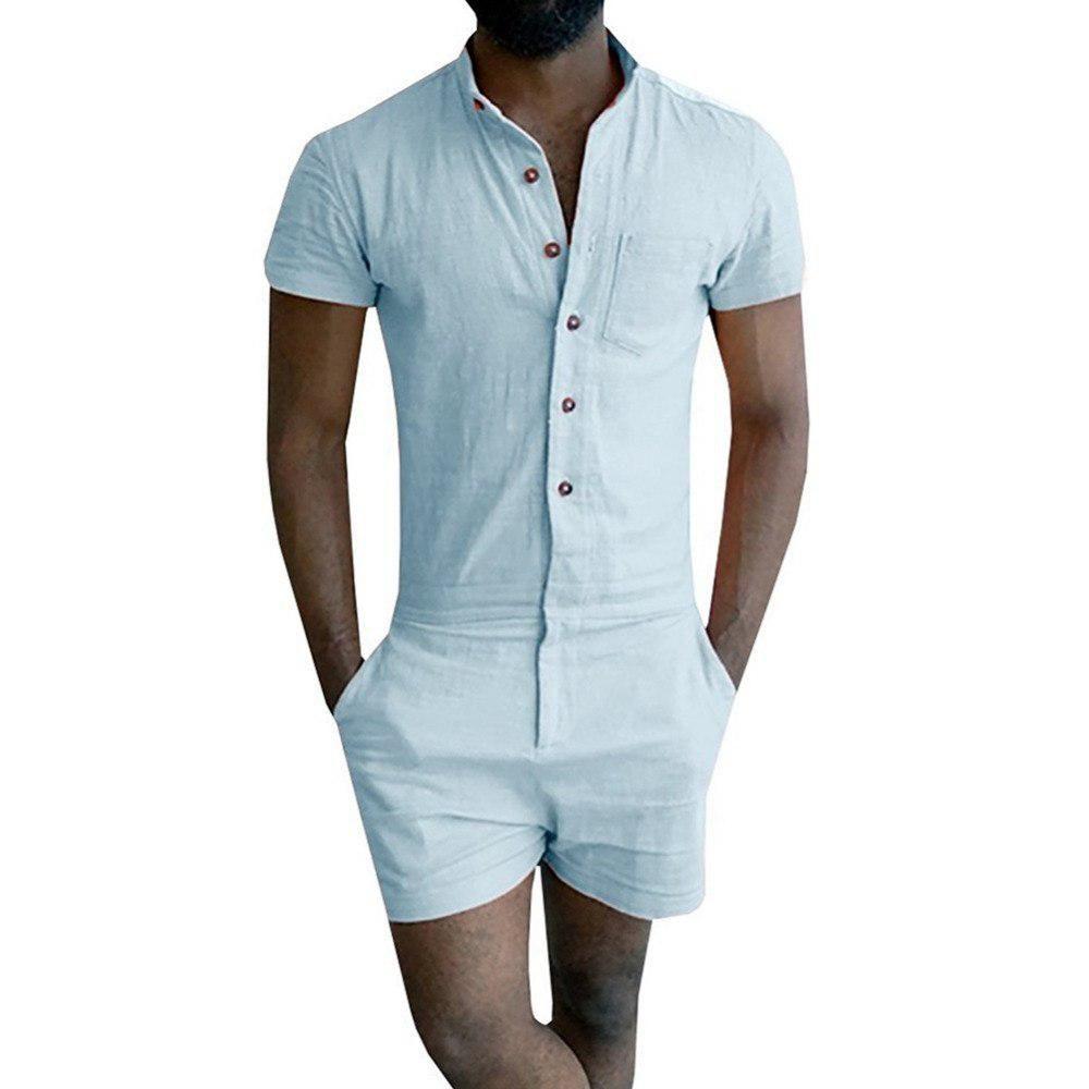 Mens Gentleman Short Sleeve Overalls Pants Slim Fit Jumpsuits Rompers Trousers