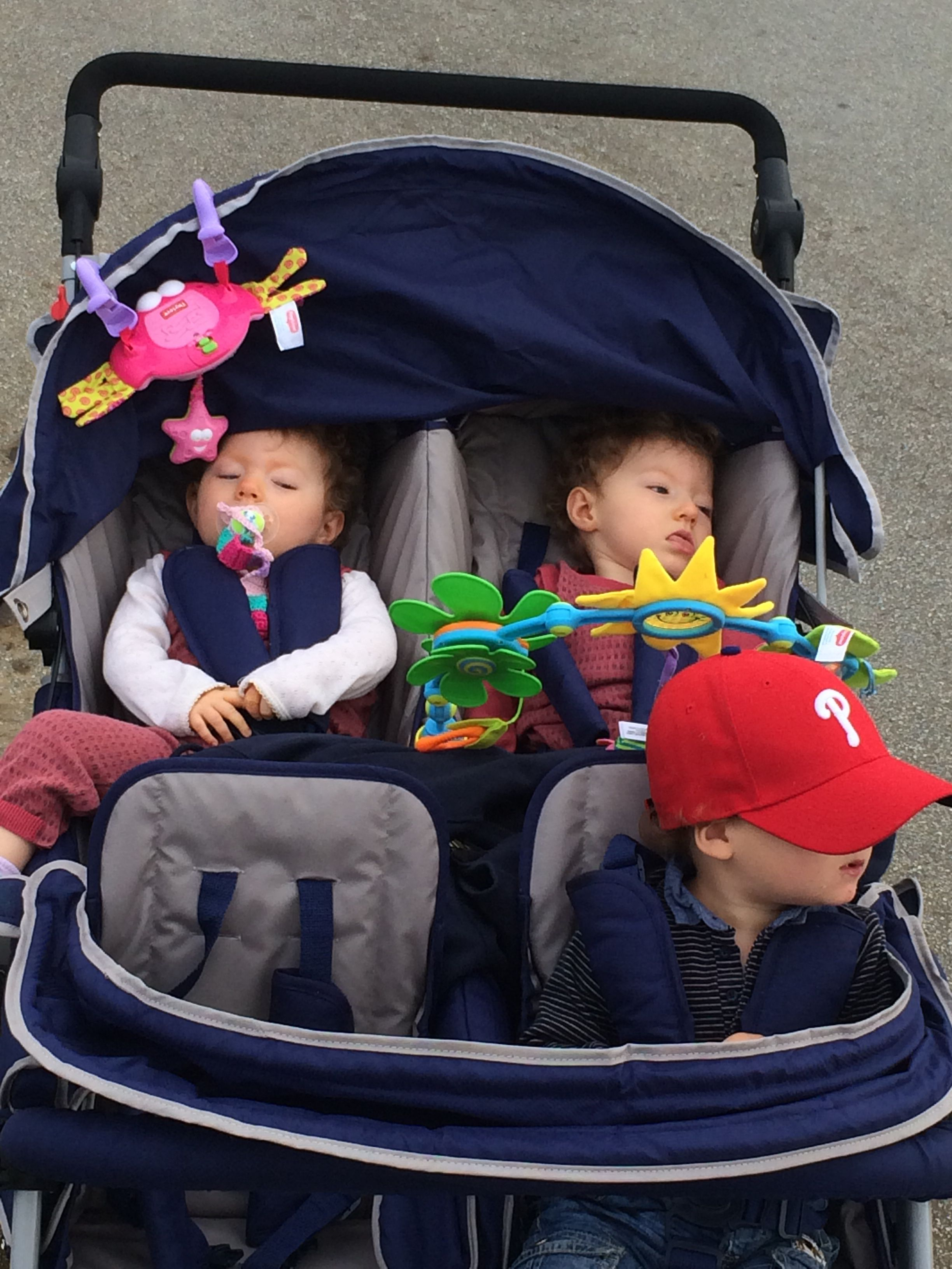 Quadruplet stroller, fits better than triplet. Gets through most ...