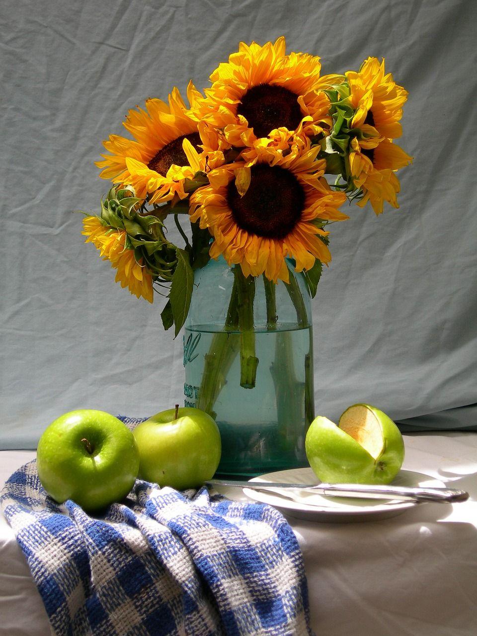 Free Image on Pixabay Sunflowers, Apples, Life, Still
