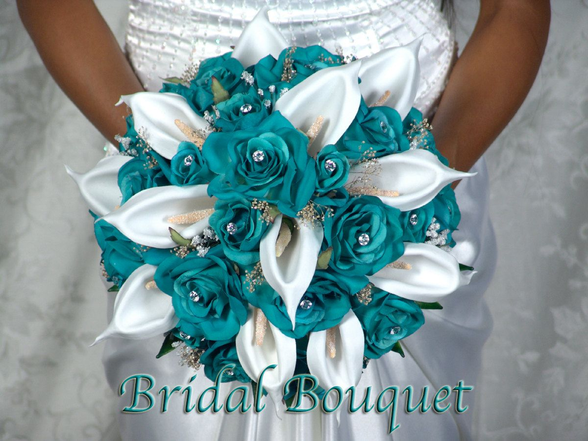 Items Similar To Trendy Calla Teal Complete Bridal Bouquet Package Lillies Roses Handtied Bridesmaids Groom Boutonnieres Corsages On Etsy