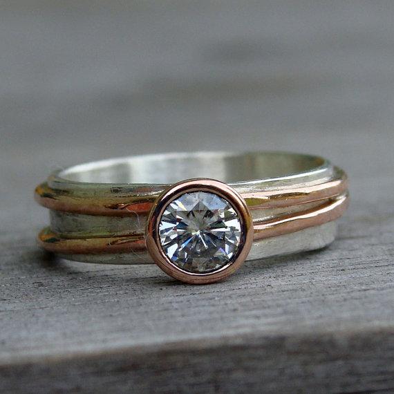 Moissanite Wedding Ring with Recycled 14k Rose von McFarlandDesigns