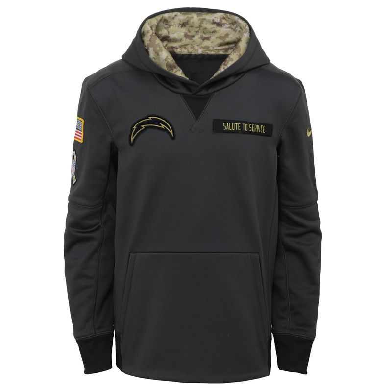 Los Angeles Chargers Nike Youth Salute to Service Performance Pullover  Hoodie - Charcoal 958db7da78a