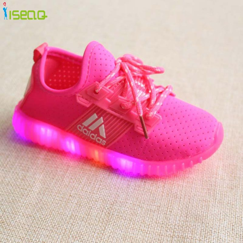 Hot Sale Children Girls Led Luminous Sneakers Kids Sports Shoes Girl Pu Casual Boots For Spring Autumn Rubber Butto Kids Sports Shoes Childrens Shoes Kid Shoes