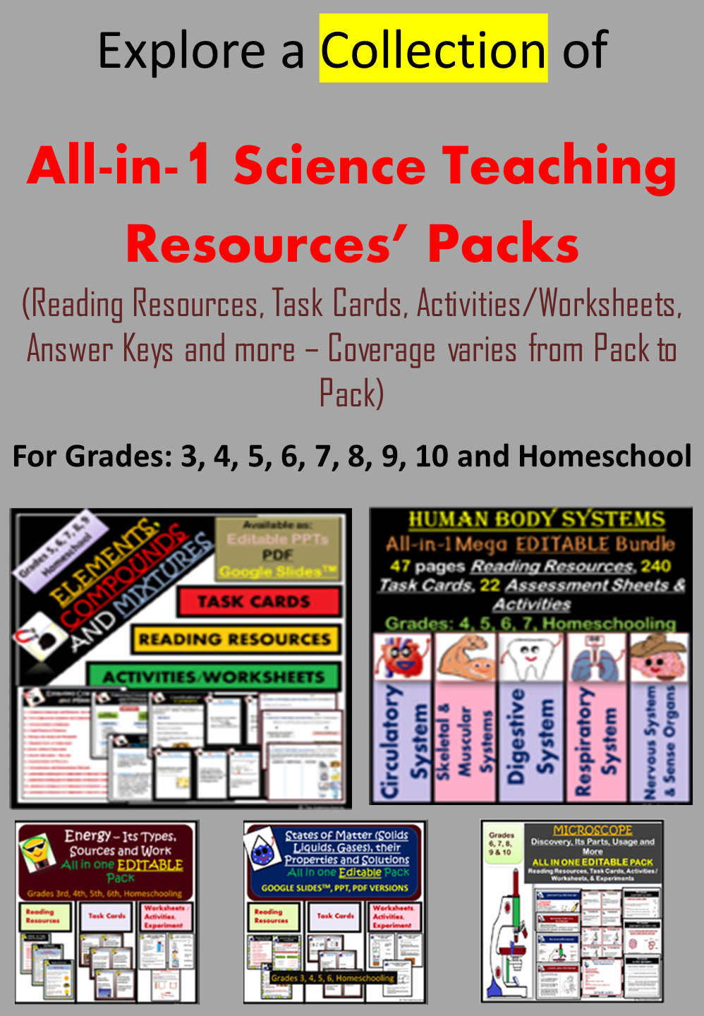 All In 1 Science Teaching Resources Packs For Grades 3 To 10 And Homeschooling In 2020 Science Teaching Resources Science Reading Science [ 1440 x 998 Pixel ]