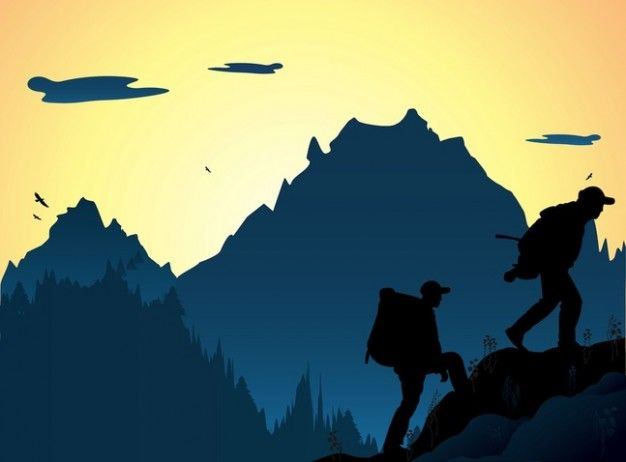 Download Nature Mountaineering People Vector Silhouettes For Free