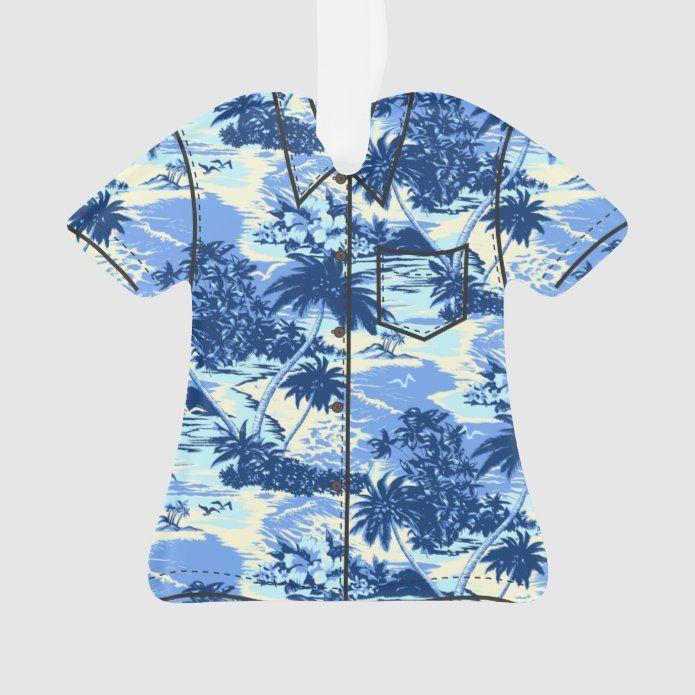 Napili Bay Hawaiian Island Scenic Aloha Shirt Ornament - tap, personalize, buy right now! #Ornament #hawaii #hawaiian #palm #trees #beach