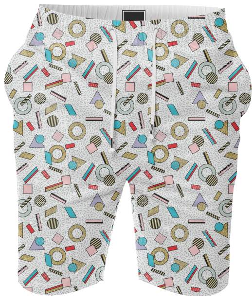 80s Memphis Milan inspired design in Pastel, seasonofvictory PAOM Print All Over Me mens shorts