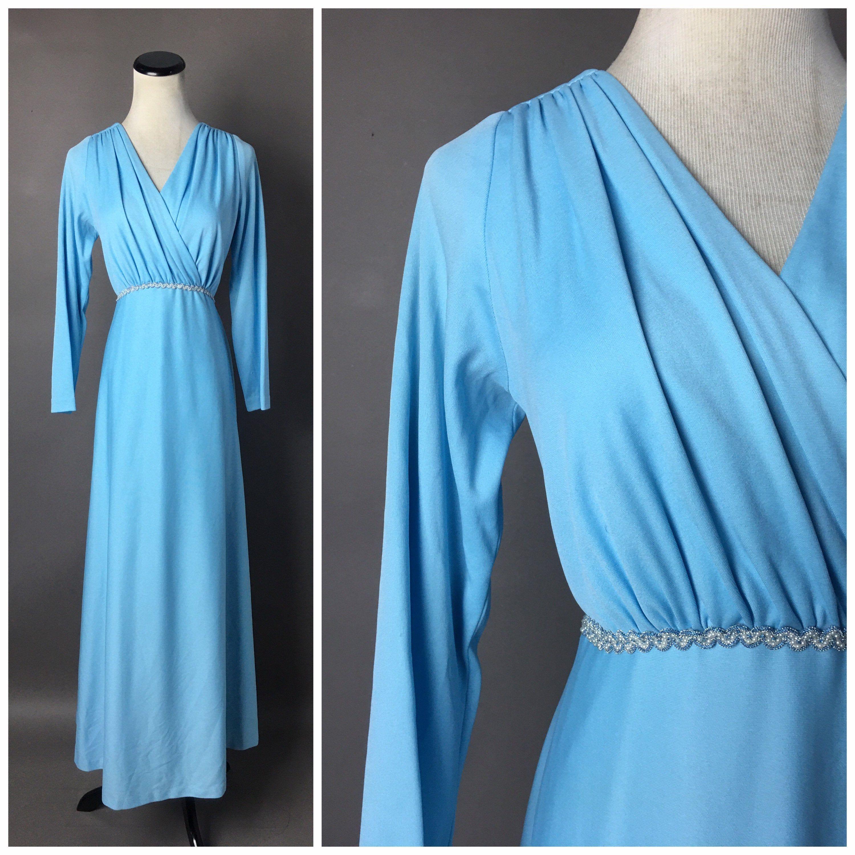 Vintage 70s Dress 1970s Dress Blue Dress Cocktail Dress Etsy Maxi Dress Cocktail Vintage Dress 70s Maxi Dress Party [ 3000 x 3000 Pixel ]