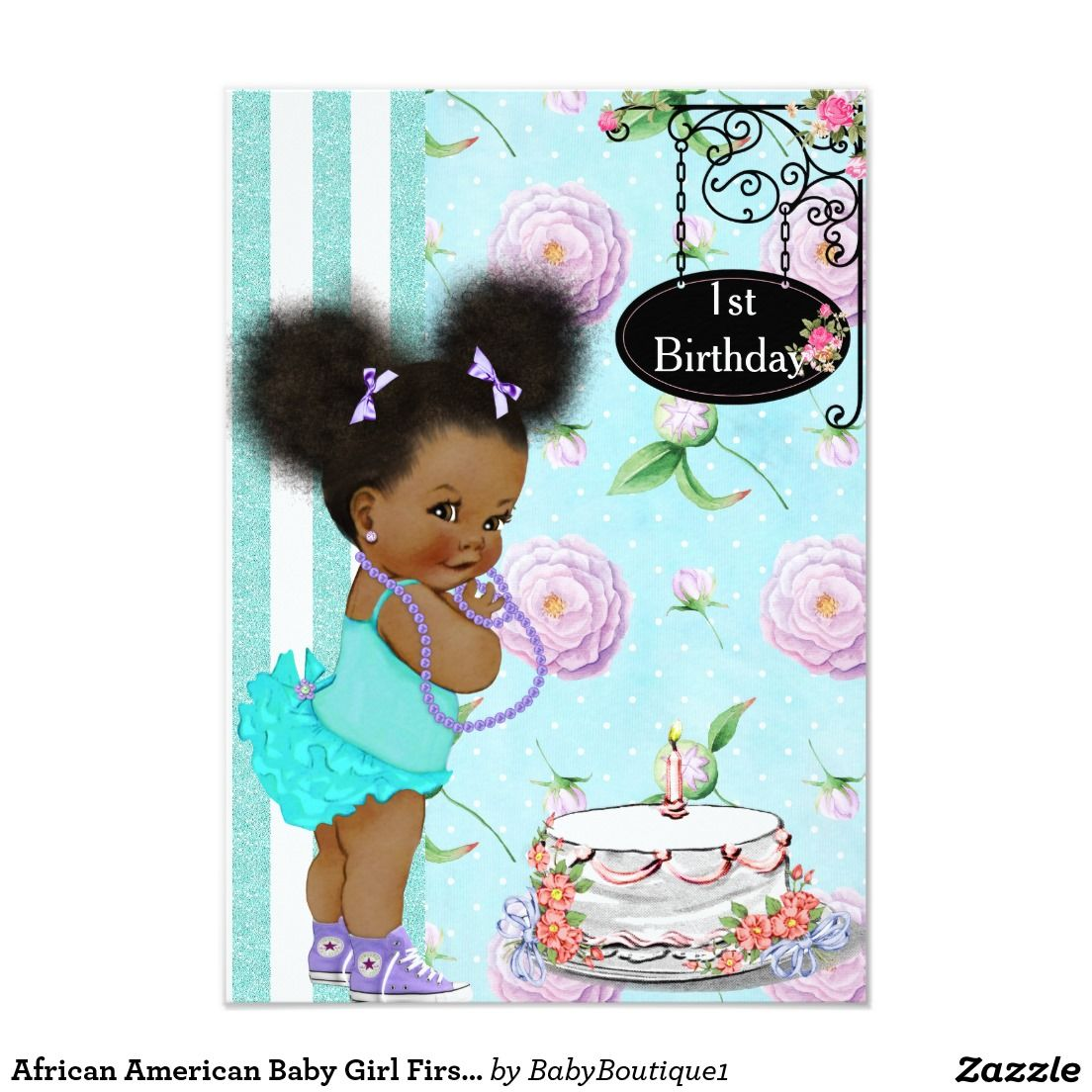 African American Baby Girl First Birthday Party Card