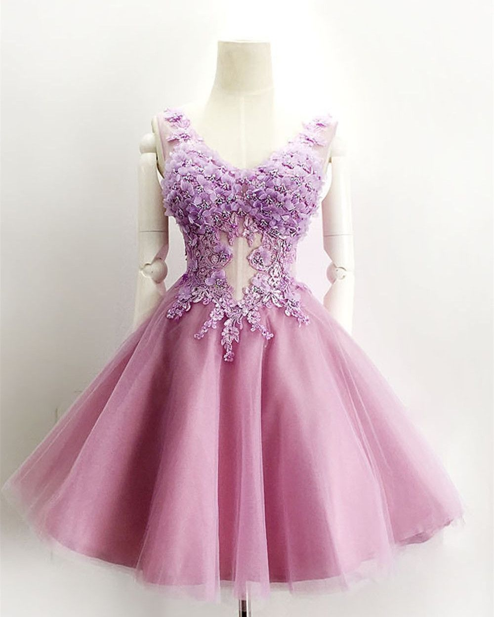 Ball Gown Homecoming Dress,V-neck Short Homecoming Gown,Purple Prom ...