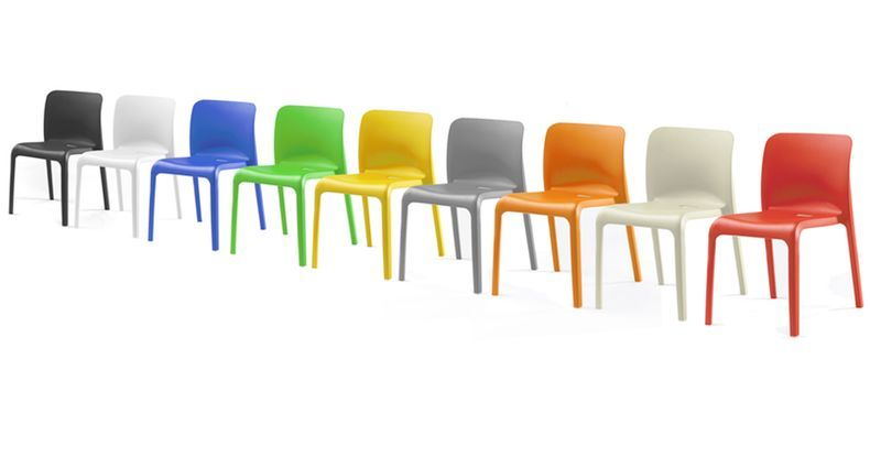 funky hardwearing modern bright coloured plastic stackable chairs indoor or outdoor use