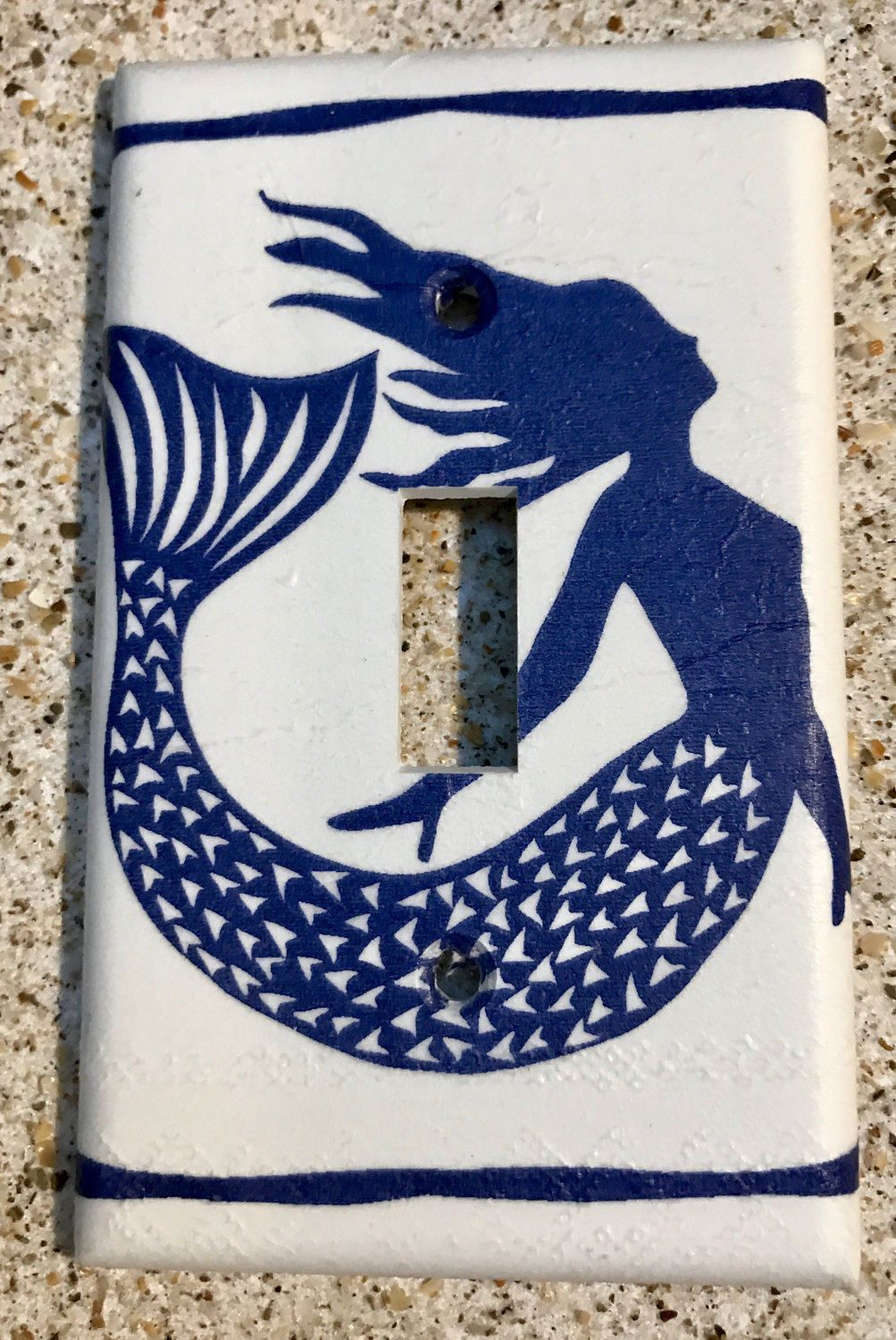 New Item Navy Blue Mermaid Light Switch Cover By Tinasthriftytreasure On Etsy