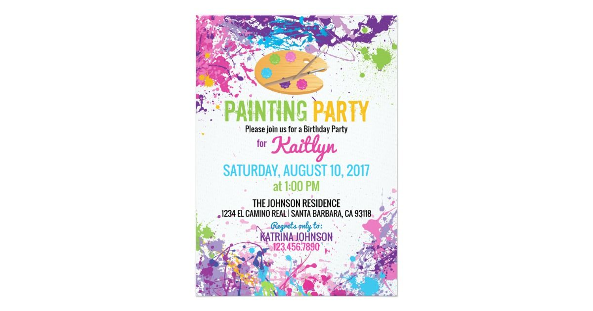 Colorful paint splashes background canvas and wood artist painting colorful paint splashes background canvas and wood artist painting palette with brushes birthday invitation card design stopboris Gallery
