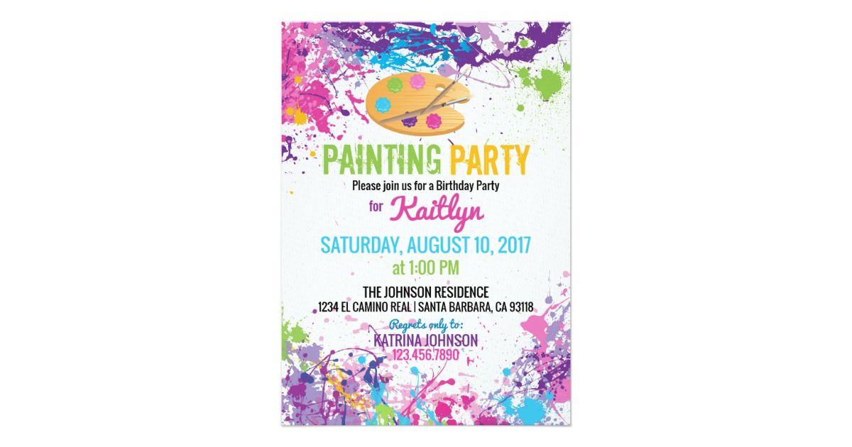 Artist Palette Paint Splashes Birthday Invitation Zazzle Com