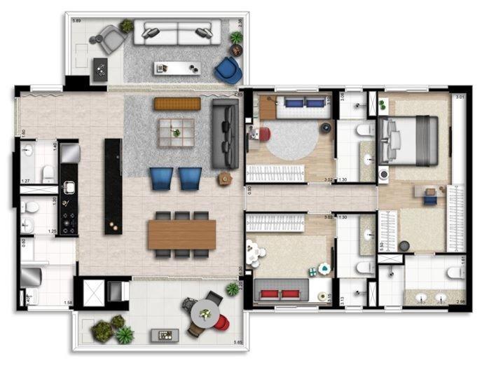 Planta 145 m²