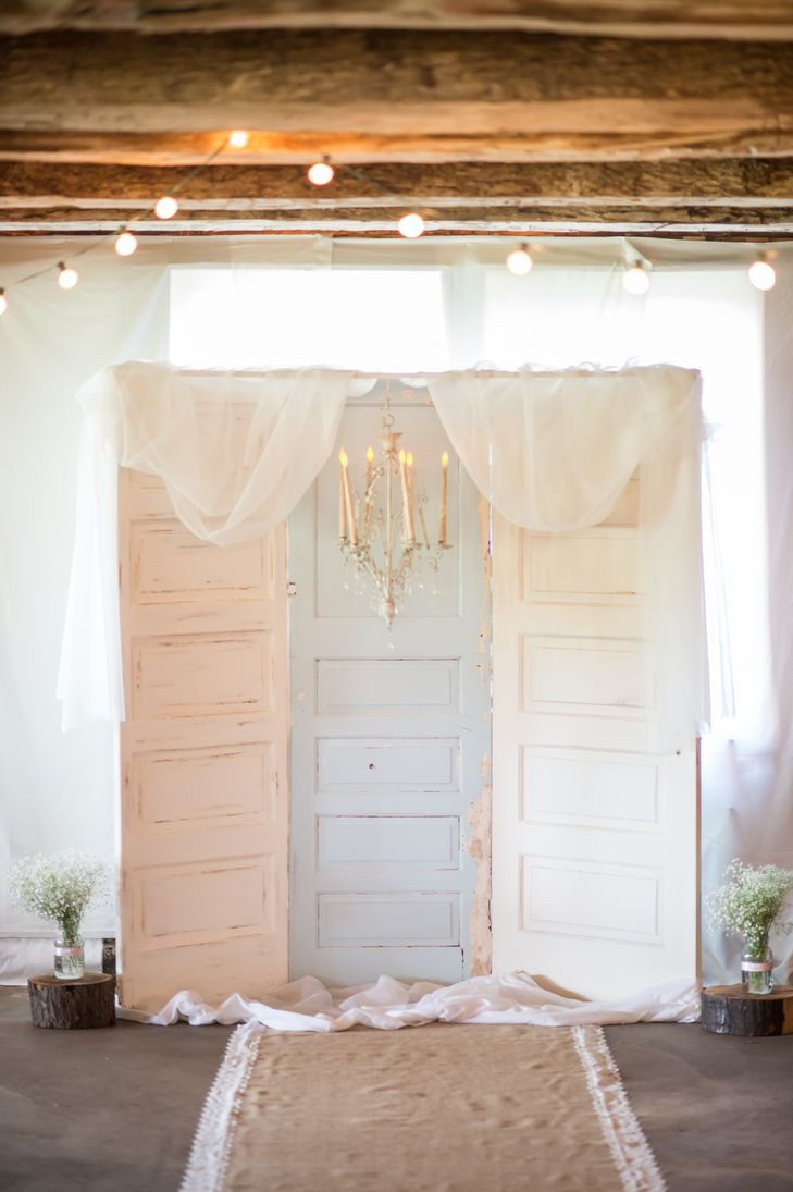 Pastel vintage doors as ceremony backdrop krystal healy for Wedding backdrops