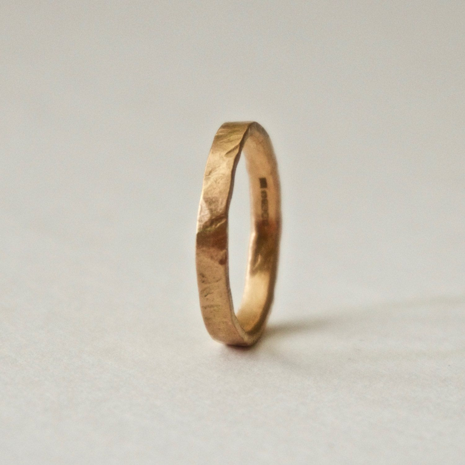 Rose Gold Hammered Ring 18 Carat Flat Hammer Textured Unique