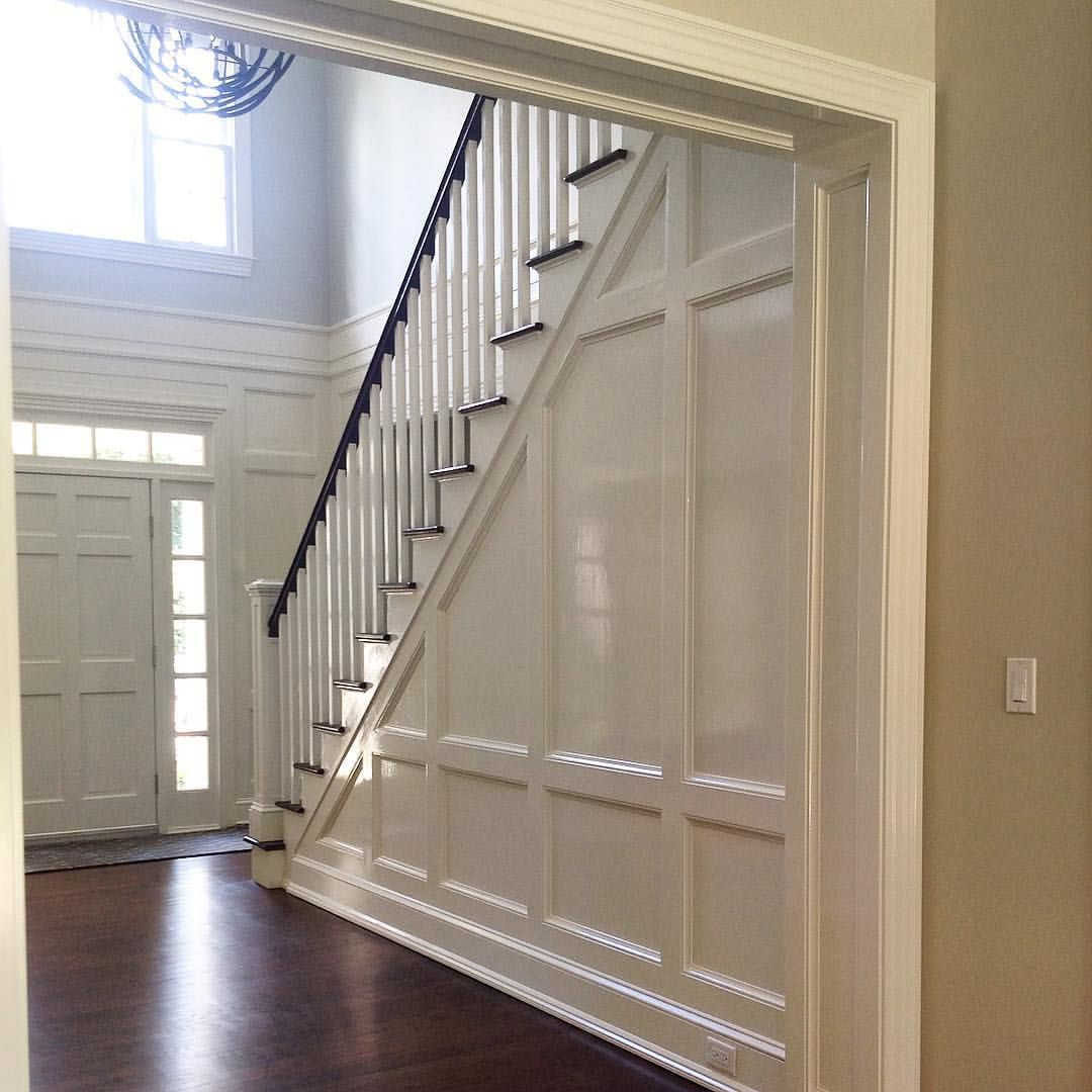 Entry Hall With Glossy New Paneling, Renovation With