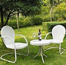 Vintage Bistro Table Set 3 Pc Patio Furniture Retro Metal Lawn Chairs White  NEW