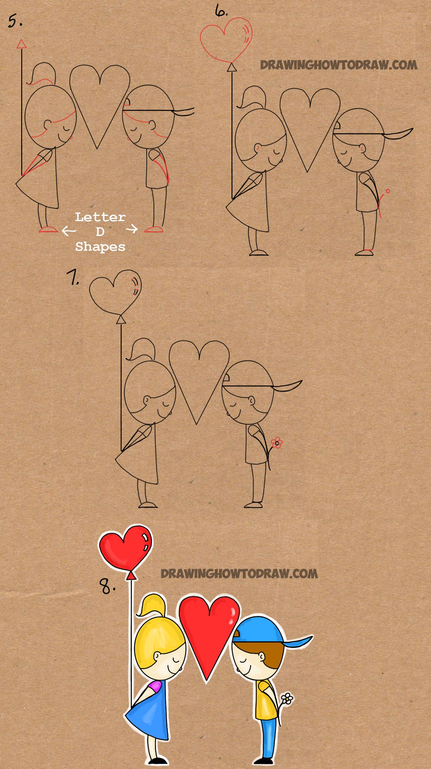 step by step drawing tutorial for drawing love word toon ...