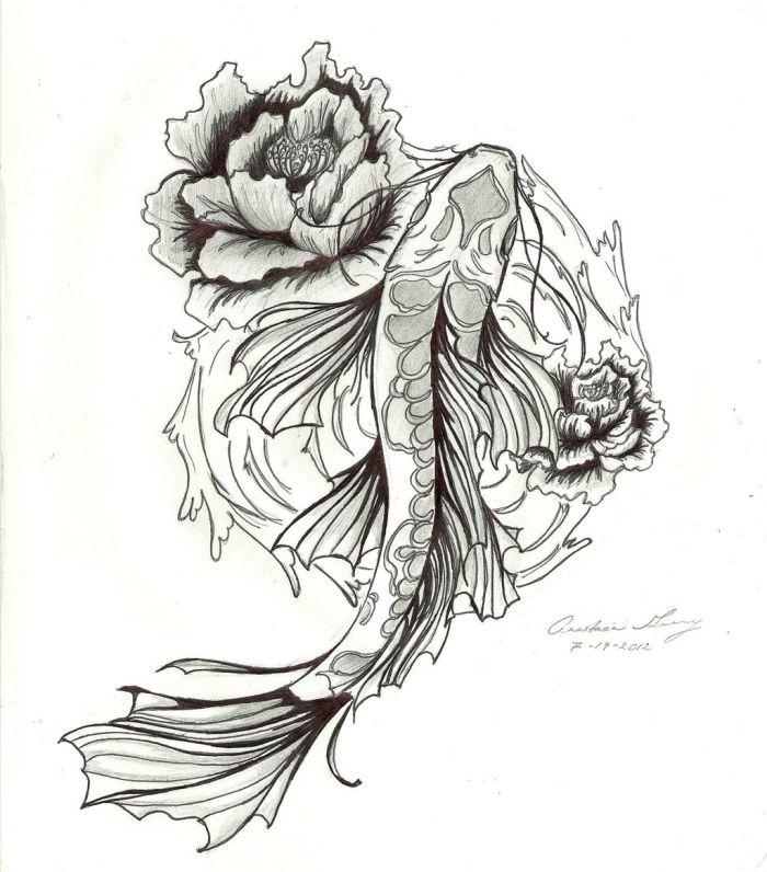 koi-fisch-tattoo-design-zeichnung-als-vorlage-mit-rose | Tattoo ...