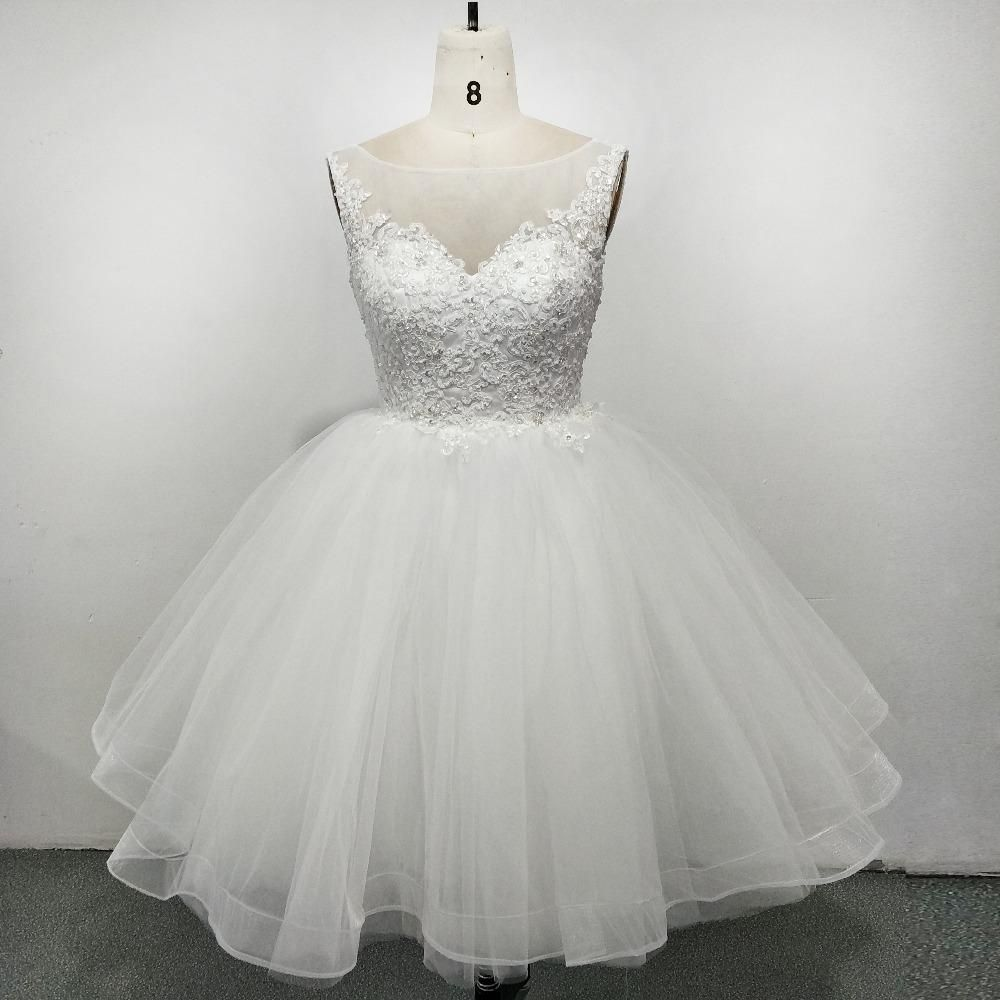 Lovely Scoop Neck Puffy Short Wedding Dress With Lace Beading Summer Bridal Gown Short Wedding Dress Vintage Style Wedding Dresses Wedding Dresses [ 1000 x 1000 Pixel ]