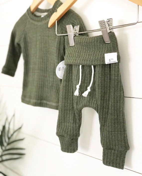 Photo of Green waffle knit outfit, gender neutral baby clothes, baby boy clothes, take home outfit, christmas pajamas.