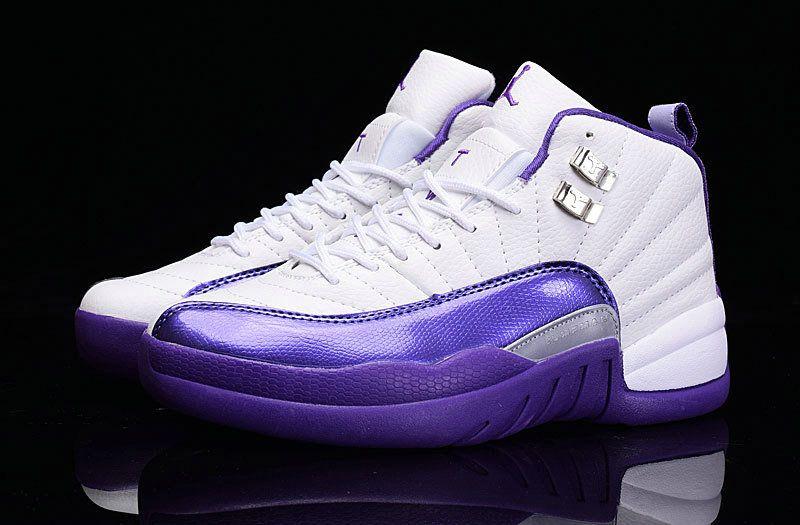 classic fit bf1dc 5048a Air Jordan Big Boy Shoes Young 12 XII Girls Hyper Violet Hyper Grape White
