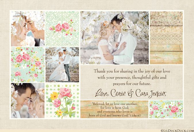 Wedding Thank You Cards with Photos