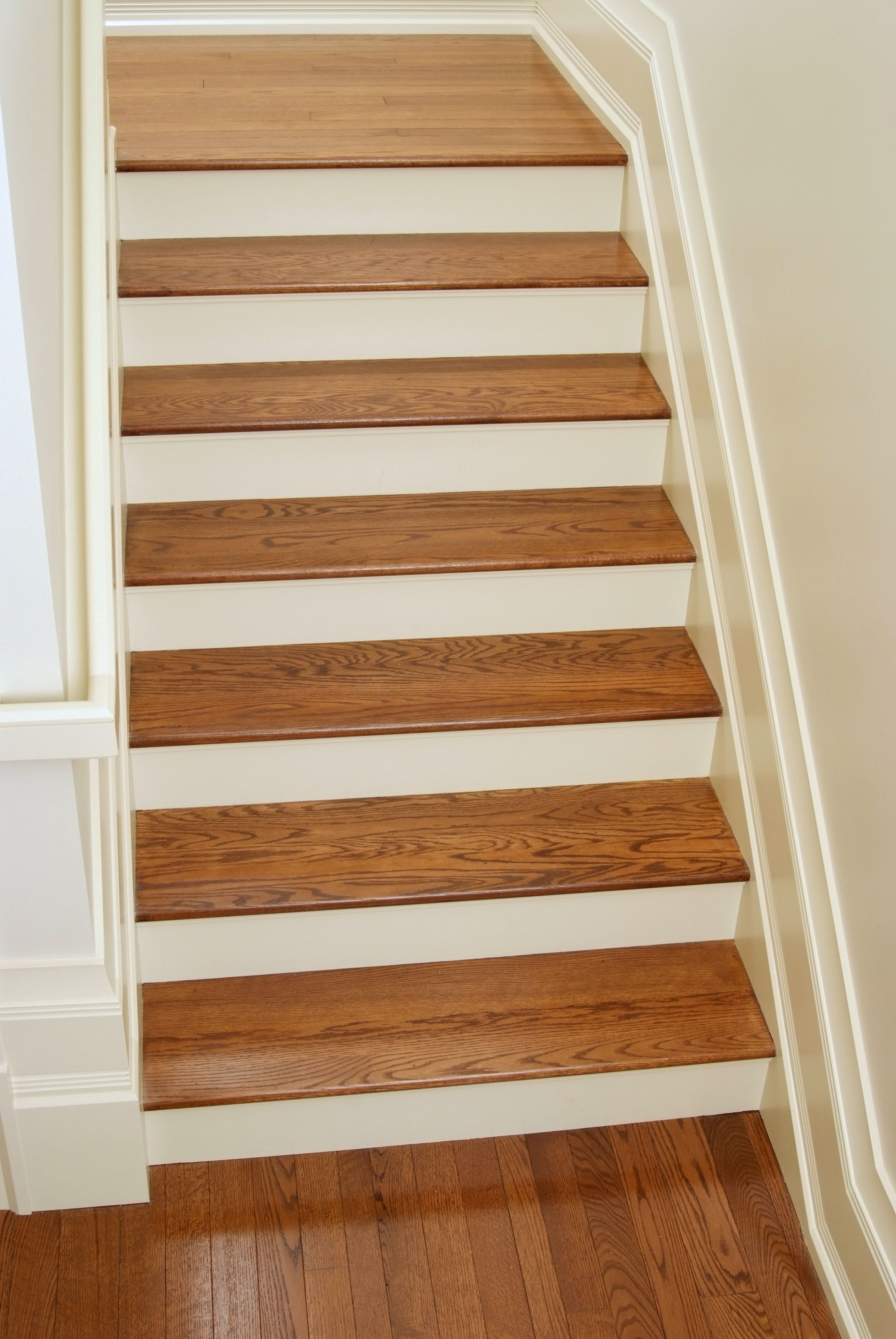 White Oak Stair Treads Wood Stair Treads Laminate Stairs Oak | Installing Hardwood Stair Treads | Stair Railing | Wood Flooring | Staircase Makeover | Wooden Stairs | Carpeted Stairs